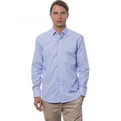 Koszula w kolorze błękitnym ze wzorem. Niebieskie koszule męskie Roberto Cavalli, Trussardi, w kratkę, z klasycznym kołnierzykiem. W wyprzedaży za 199.95 zł.
