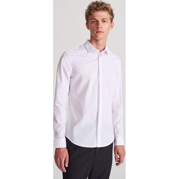 Elegancka koszula super slim Biały Białe koszule męskie  V9fF3