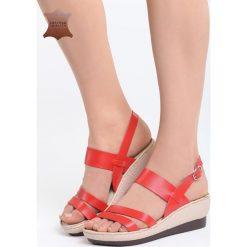 Czerwone Skórzane Sandały Own Self. Czerwone sandały damskie Born2be, z materiału. Za 99.99 zł.