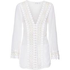 Tunika plażowa bonprix biały. Białe tuniki damskie bonprix, w ażurowe wzory, z materiału, z dekoltem w serek. Za 74.99 zł.