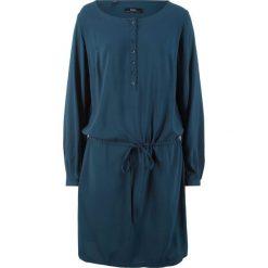 Sukienka z plisą guzikową bonprix ciemnoniebieski. Niebieskie sukienki damskie bonprix. Za 89.99 zł.