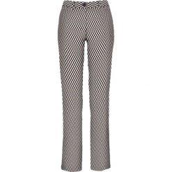 Spodnie ze stretchem bonprix czarno-brunatny z nadrukiem. Brązowe spodnie materiałowe damskie bonprix, z nadrukiem. Za 109.99 zł.