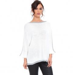 """Sweter """"Cecile"""" w kolorze białym. Białe swetry damskie Cosy Winter, ze splotem, z okrągłym kołnierzem. W wyprzedaży za 159.95 zł."""
