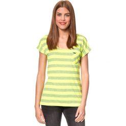 """Koszulka """"Barbusto"""" w kolorze jaskrawożółtym. Bluzki damskie Brunotti, w paski, z okrągłym kołnierzem, z krótkim rękawem. W wyprzedaży za 56.95 zł."""