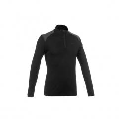 Koszulka trekkingowa długi rękaw TechWOOL 190 męska zamek. Czarne bluzki z długim rękawem męskie FORCLAZ, z materiału. Za 129.99 zł.