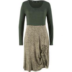 Sukienka shirtowa z długim rękawem bonprix nocny oliwkowy z nadrukiem. Zielone sukienki damskie bonprix, z nadrukiem, z długim rękawem. Za 89.99 zł.