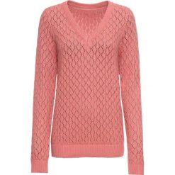 Sweter ażurowy bonprix dymny koralowy. Swetry damskie marki bonprix. Za 89.99 zł.