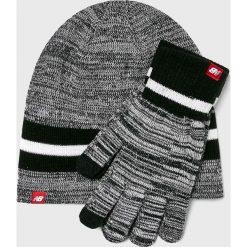 New Balance - Czapka + rękawiczki. Szare rękawiczki męskie New Balance, na zimę, z dzianiny. W wyprzedaży za 99.90 zł.