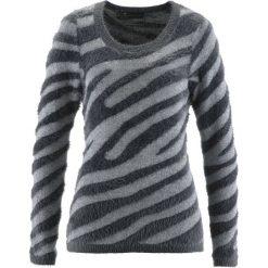 Sweter bonprix dymny szary - srebrny wzorzysty. Szare swetry damskie bonprix, z okrągłym kołnierzem. Za 59.99 zł.