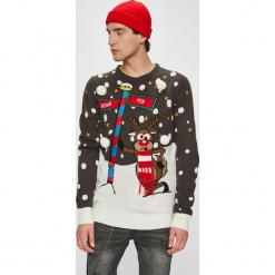 Brave Soul - Sweter. Szare swetry przez głowę męskie Brave Soul, z nadrukiem, z dzianiny, z okrągłym kołnierzem. W wyprzedaży za 99.90 zł.