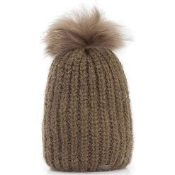 Czapka damska 87-HF-016-Z. Brązowe czapki i kapelusze damskie Wittchen, z dzianiny. Za 139.00 zł.