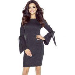 Sukienka z połyskiem wiązane rękawy b-70-05. Czarne sukienki dla dziewczynek Berg, z jeansu. W wyprzedaży za 139.00 zł.