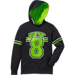 Bluza z kapturem bonprix czarno-zielony neonowy. Bluzy dla chłopców bonprix. Za 49.99 zł.