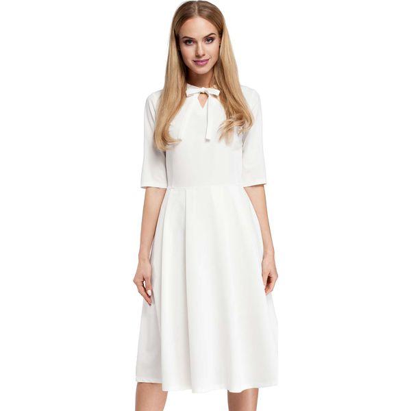 f641c9b239 Ecru Sukienka Elegancka Rozkloszowana z Wiązaniem przy Dekolcie ...