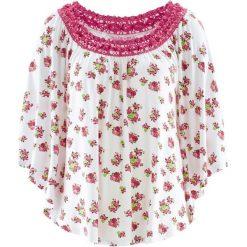 Tunika z kolekcji Maite Kelly, krótki rękaw bonprix biały w kwiaty. Białe tuniki damskie bonprix, w kwiaty, z krótkim rękawem. Za 59.99 zł.