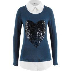 Sweter 2 w 1 z koszulową wstawką, długi rękaw bonprix ciemnoniebieski. Swetry damskie marki bonprix. Za 79.99 zł.