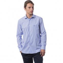 Koszula w kolorze chabrowym. Niebieskie koszule męskie Roberto Cavalli, Trussardi, w paski, z klasycznym kołnierzykiem. W wyprzedaży za 329.95 zł.