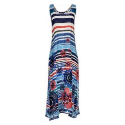 Desigual Sukienka Damska Flora Xl Niebieska. Niebieskie sukienki damskie Desigual, z długim rękawem. W wyprzedaży za 259.00 zł.