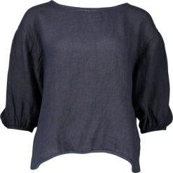Lniana koszulka w kolorze granatowym. T-shirty damskie William de Faye, klasyczne, z okrągłym kołnierzem, z długim rękawem. W wyprzedaży za 86.95 zł.