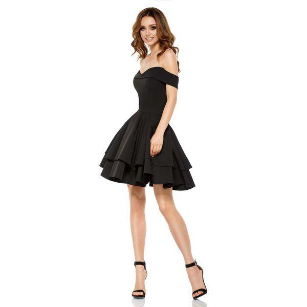 e0a6c71856 Czarna Elegancka Imprezowa Sukienka z Odkrytymi Ramiona - Sukienki ...