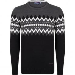 Sweter w kolorze szaro-czarnym. Czarne swetry przez głowę męskie Giorgio di Mare, z bawełny, z okrągłym kołnierzem. W wyprzedaży za 152.95 zł.