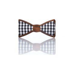Checker – Drewniana Mucha w Czarno Białą Kratkę. Białe krawaty i muchy Woodenlife, w kratkę, z bawełny. Za 89.00 zł.