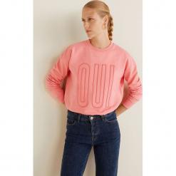 Mango - Bluza Oui. Różowe bluzy damskie Mango, z aplikacjami, z bawełny. Za 89.90 zł.