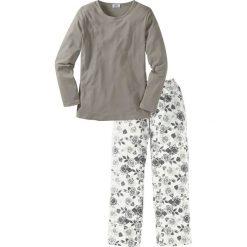 Piżama bonprix szaro-biały z nadrukiem. Piżamy damskie marki MAKE ME BIO. Za 69.99 zł.