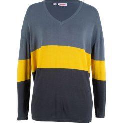 Sweter w szerokie pasy, długi rękaw bonprix niebiesko-żółto-niebieskoszary. Swetry damskie marki bonprix. Za 74.99 zł.