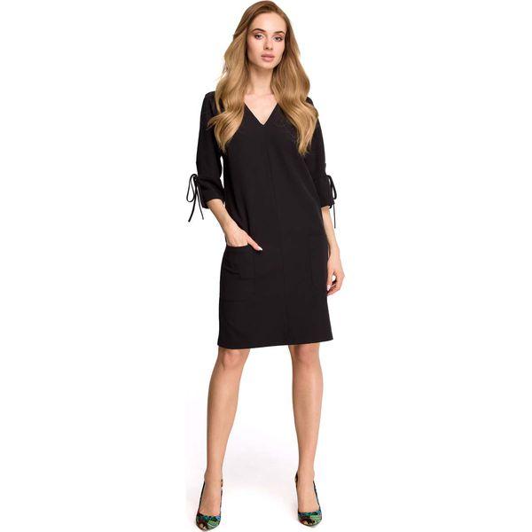 f2c35bd1f0 Czarna Casualowa Sukienka z Wiązaniem na Rękawie - Sukienki damskie ...
