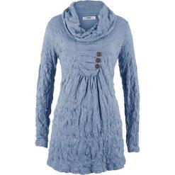 Tunika kreszowana, długi rękaw bonprix matowy niebieski. Niebieskie tuniki damskie bonprix, z długim rękawem. Za 89.99 zł.