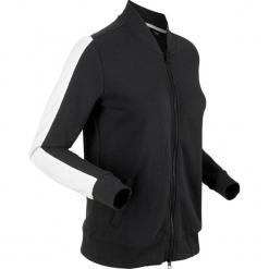 Bluza rozpinana z aksamitnymi wstawkami, długi rękaw bonprix czarny. Czarne bluzy damskie bonprix, z dresówki. Za 109.99 zł.