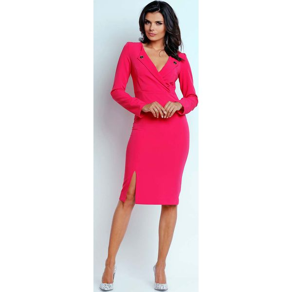 040e355692 Różowa Wizytowa Dopasowana Sukienka z Guzikami przy Dekolcie ...