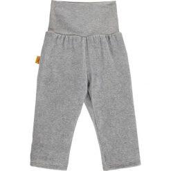 Spodnie w kolorze szarym. Spodenki niemowlęce Steiff, z aplikacjami, z materiału. W wyprzedaży za 32.95 zł.