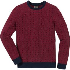 Sweter w delikatny wzór Regular Fit bonprix ciemnoniebiesko-czerwony rubinowy wzorzysty. Niebieskie swetry przez głowę męskie bonprix, z dzianiny. Za 89.99 zł.