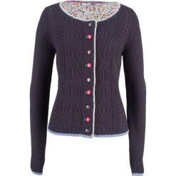 Sweter rozpinany z kwiatowym haftem bonprix jagodowy. Kardigany damskie marki bonprix. Za 79.99 zł.