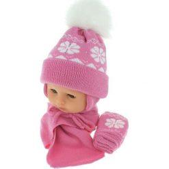Czapka niemowlęca z szalikiem i rękawiczkami 012B różowa. Czapki dla dzieci marki Reserved. Za 46.14 zł.