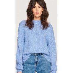 Sweter z domieszką wełny - Niebieski. Swetry damskie marki bonprix. W wyprzedaży za 79.99 zł.