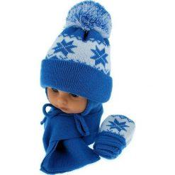 Czapka niemowlęca z szalikiem i rękawiczkami 014C niebieska. Czapki dla dzieci marki Reserved. Za 46.14 zł.