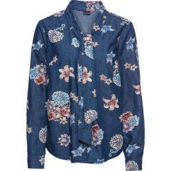 Bluzka dżinsowa z nadrukiem i krawatką bonprix ciemny denim. Bluzki damskie marki Colour Pleasure. Za 59.99 zł.