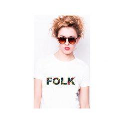 Koszulka damska FOLK. Białe t-shirty damskie Tailormade24, z nadrukiem, z bawełny. Za 45.00 zł.