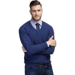 Sweter VINCENZO SWNS000218. Brązowe swetry przez głowę męskie Giacomo Conti, z kaszmiru, z klasycznym kołnierzykiem. Za 249.00 zł.