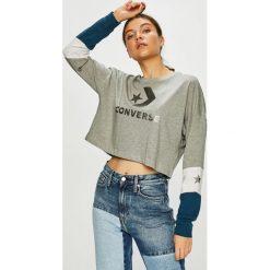 Converse - Bluzka. Szare bluzki damskie Converse, z nadrukiem, z bawełny, casualowe, z okrągłym kołnierzem. Za 169.90 zł.