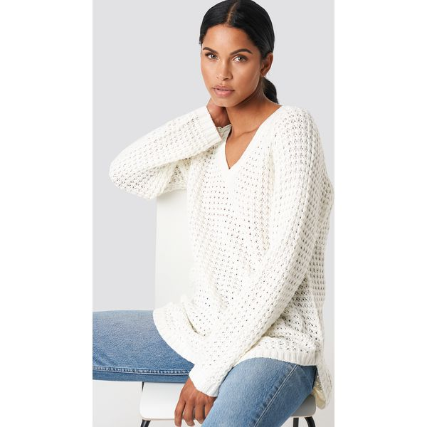 4e9c541972dec NA-KD Sweter ze splotem - White - Swetry damskie marki NA-KD. Za ...
