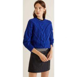 Mango - Sweter Centric. Niebieskie swetry damskie Mango, z dzianiny, z okrągłym kołnierzem. Za 159.90 zł.
