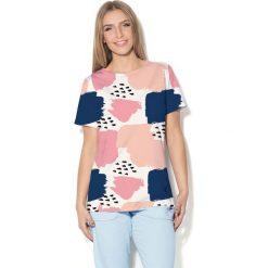 Colour Pleasure Koszulka CP-030  46 biało-różowo-brzoskwiniowa r. XS/S. Bluzki damskie Colour Pleasure. Za 70.35 zł.