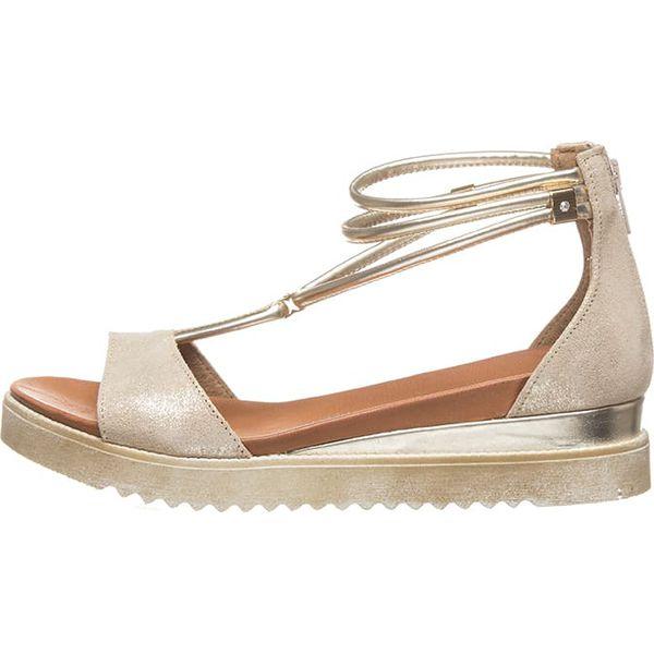 1253acf4673f56 Skórzane sandały w kolorze beżowo-złotym - Sandały damskie Otto Kern ...