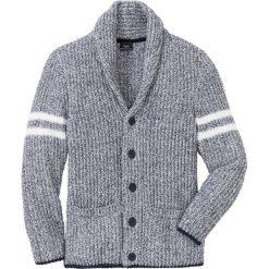 Sweter rozpinany z szalowym kołnierzem  Regular Fit bonprix ciemnoniebiesko-biel wełny melanż. Niebieskie kardigany męskie bonprix, melanż, z materiału. Za 109.99 zł.