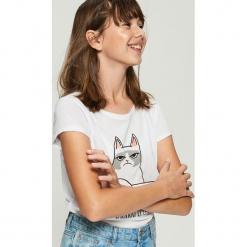 Purrrfekcyjny t-shirt - Biały. Białe t-shirty damskie Sinsay. Za 19.99 zł.