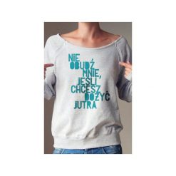 Nie obudź mnie bluza dla matek karmiących. Szare bluzy damskie One mug a day, z nadrukiem, z bawełny. Za 159.00 zł.